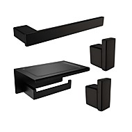 cheap Bathroom Accessory Set-Rustproof SUS304 Stainless Steel Silky Matte Black Finished Bathroom Accessories Set Wall Mounted or Nail-Free Towel Bar Paper Holder Robe Hook N1004-2