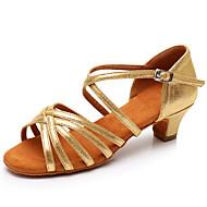 Kadın's Latin Dans Ayakkabıları Patentli Deri Sandaletler / Topuklular Toka Kalın Topuk Kişiselleştirilmiş Dans Ayakkabıları Altın