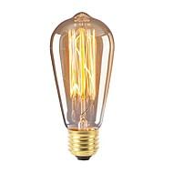 billige Glødelampe-1pc 40 W E26 / E27 ST58 Varm hvit 2300 k Kontor / Bedrift / Mulighet for demping / Dekorativ Glødende Vintage Edison lyspære 220-240 V