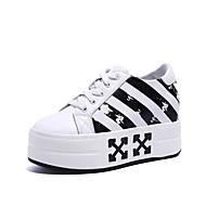 baratos Sapatos Femininos-Mulheres Sapatos Confortáveis Couro Ecológico Outono Tênis Creepers Ponta Redonda Branco / Preto