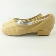 billige Ballettsko-Dame Ballettsko Lerret Flate Tvinning Flat hæl Kan spesialtilpasses Dansesko Gul