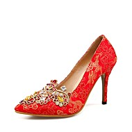 baratos Sapatos Femininos-Mulheres Cetim Primavera Verão Conforto Sapatos De Casamento Salto Agulha Vermelho