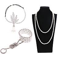 Store Gatsby Vintage 1920'erne Kostume Dame Hovedtøj Perlehalskæde Slave Armbånd Sort / Gylden / Sort / Hvid Vintage Cosplay Fjer Halloween Kostumer