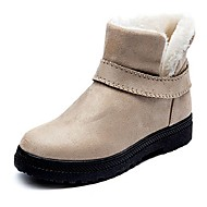 baratos Sapatos Femininos-Mulheres Sapatos Camurça Outono Botas de Neve Botas Sem Salto Ponta Redonda Botas Curtas / Ankle Bege / Cinzento / Vermelho / Festas & Noite