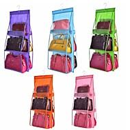 両面透明6ポケット折りたたみ吊りハンドバッグ財布収納袋雑貨整頓オーガナイザーワードローブクローゼットハンガー