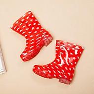 baratos Sapatos de Menina-Para Meninas Sapatos PVC / Couro Ecológico Primavera & Outono Botas de Chuva Botas Caminhada Combinação para Infantil Vermelho / Azul / Botas Cano Alto