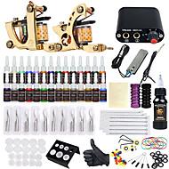 baratos Kits de Tatuagem para Iniciantes-Máquina de tatuagem Conjunto de Principiante - 2 pcs máquinas de tatuagem com 28 x 5 ml tintas de tatuagem, Profissional LCD de alimentação No case 2 x máquina de tatuagem liga para revestimento e