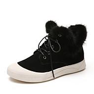 Χαμηλού Κόστους Γυναικεία Παπούτσια-Γυναικεία Fashion Boots Σουέτ Χειμώνας Γλυκός Μπότες Περπάτημα Επίπεδο Τακούνι Στρογγυλή Μύτη Μποτίνια Μαύρο / Σκούρο καφέ