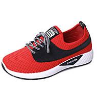 Χαμηλού Κόστους Περπάτημα-Γυναικεία Παπούτσια άνεσης PU / Ελαστικό ύφασμα Φθινόπωρο Αθλητικά Παπούτσια Περπάτημα Επίπεδο Τακούνι Στρογγυλή Μύτη Μαύρο / Κόκκινο