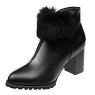 baratos Sapatos Femininos-Mulheres Fashion Boots Couro Ecológico Outono Casual Botas Salto Robusto Botas Curtas / Ankle Pom Pom Preto / Vinho