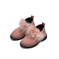 baratos Sapatos de Menina-Para Meninas Sapatos Couro Ecológico Primavera / Inverno Conforto Rasos Caminhada Flor de Cetim para Infantil Preto / Vermelho / Rosa claro