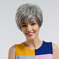 Human Hair Capless Parykker Menneskehår Lige Pixie frisure Natural Hairline Mørkegrå Lågløs Paryk Dame Dagligdagstøj