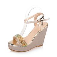 Damen Komfort Schuhe PU Sommer Sandalen Keilabsatz Gold / Weiß / Purpur