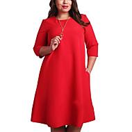 Mujer Tallas Grandes Básico Recto Vestido Un Color Hasta la Rodilla Rojo