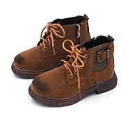 baratos Sapatos de Menina-Para Meninos / Para Meninas Sapatos Couro Ecológico Primavera & Outono / Primavera Verão Conforto / Botas da Moda Botas Caminhada Ziper / Cadarço / Combinação para Infantil Preto / Castanho Claro