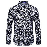 Men's Club Slim Shirt - Leopard / Animal Print Spread Collar White XL / Long Sleeve / Spring / Fall