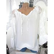 V-hals Tynd Dame - Ensfarvet Skjorte
