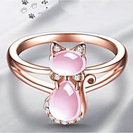 สำหรับผู้หญิง คลาสสิค แหวน แหวนห่อ ทองแดง พลอยเทียม แมว สุภาพสตรี Stylish คลาสสิก แหวนแฟชั่น เครื่องประดับ สีน้ำตาลอ่อน สำหรับ ทุกวัน 6 / 7 / 8 / 9