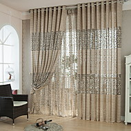 baratos Cortinas Transparentes-Sheer Curtains Shades Quarto Sólido Algodão / Poliéster Impressão Reactiva