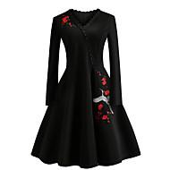 Žene Vintage / Elegantno Pamuk Slim Hlače - Cvjetni print Vezeno Crn / V izrez / Little Black / Izlasci