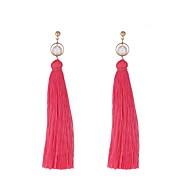สำหรับผู้หญิง พู่ ยาว Drop Earrings - ไข่มุกเทียม สุภาพสตรี ง่าย เกี่ยวกับยุโรป แฟชั่น เครื่องประดับ กุหลาบ / แดง / สีเขียว สำหรับ ที่มา ทุกวัน 1 คู่