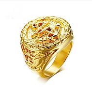 Pánské Retro Ryté Midi Ring Pečetní prsten Titanová ocel Kotva Módní Fashion Ring Šperky Zlatá Pro Dar Denní 8 / 9 / 10 / 11 / 12