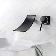Μπάνιο βρύση νεροχύτη - Καταρράκτης / Νεό Σχέδιο Βαμμένα τελειώματα / Μαύρο Επιτοίχιες Ενιαία Χειριστείτε δύο τρύπεςBath Taps