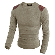 Men's Daily Color Block Long Sleeve Slim Regular Pullover, Round Neck Brown / Beige / Gray L / XL / XXL