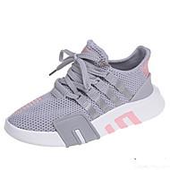 Χαμηλού Κόστους Περπάτημα-Γυναικεία Παπούτσια άνεσης PU / Ελαστικό ύφασμα Φθινόπωρο Αθλητικά Παπούτσια Περπάτημα Επίπεδο Τακούνι Στρογγυλή Μύτη Λευκό / Μαύρο / Γκρίζο