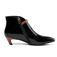 olcso -Női Közepesen magas szárú bakancs Nappa Leather Ősz Csizmák Alacsony Erősített lábujj Bokacsizmák Szatén virág Fekete / Bézs