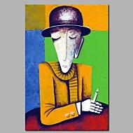 billiga Oljemålningar-Hang målad oljemålning HANDMÅLAD - Abstrakt / Människor Moderna Duk
