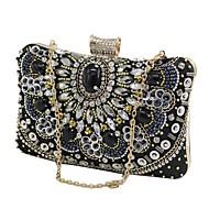 baratos Clutches & Bolsas de Noite-Mulheres Bolsas PU Bolsa de Pulso Miçangas / Detalhes em Cristal Floral Preto