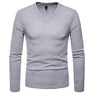 V-hals Herre - Ensfarvet T-shirt / Langærmet