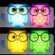 billige Lamper-BRELONG® 1pc Ugle LED Night Light Rød / Blå / Gul AC- Drevet Tegneserie / Lysstyring / Bedside 85-265 V