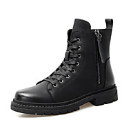 cheap Men's Boots-Men's Leather Shoes Leather Fall & Winter Vintage / Casual Boots Non-slipping Mid-Calf Boots Black