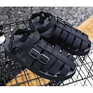 baratos Sapatos de Tamanho Pequeno-Homens Sapatos Confortáveis Lona Verão Sandálias Preto