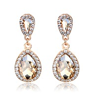 Women's 3D Drop Earrings Rhinestone Gold Plated Earrings Pear Ladies Simple Classic Fashion Jewelry Champagne For Daily Street 1 Pair