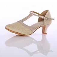 billige Moderne sko-Dame Moderne sko Fuskelær / Netting Høye hæler Tvinning Kubansk hæl Kan spesialtilpasses Dansesko Gull