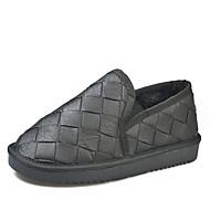 billige Sko i Store Størrelser-Dame Snøstøvler PU Høst minimalisme Støvler Flat hæl Rund Tå Ankelstøvler Beige / Grå / Rød