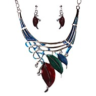 Women's Clear Cubic Zirconia Trace Jewelry Set - Leaf Ladies, Stylish, Romantic, Elegant Include Drop Earrings Bib necklace Red / Green / Blue For Wedding Gift