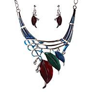 สำหรับผู้หญิง ล้าง Cubic Zirconia ติดตาม ชุดเครื่องประดับ - Leaf Shape สุภาพสตรี, Stylish, โรแมนติก, สง่างาม ประกอบด้วย Drop Earrings สร้อยคอ แดง / สีเขียว / ฟ้า สำหรับ งานแต่งงาน ของขวัญ