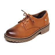 baratos Sapatos Femininos-Mulheres Sapatos Confortáveis Couro Ecológico Outono Oxfords Salto de bloco Bege / Amarelo / Vinho