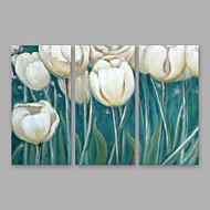 billiga Väggkonst-Hang målad oljemålning HANDMÅLAD - Blommig / Botanisk Moderna Duk / Tre paneler