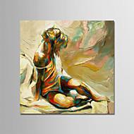 billiga Människomålningar-Hang målad oljemålning HANDMÅLAD - Abstrakt Människor Moderna Inkludera innerram / Sträckt kanfas