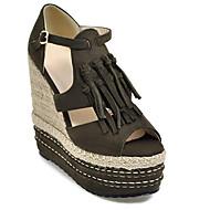 baratos Sapatos Femininos-Mulheres Sapatos Confortáveis Couro Ecológico Verão Sandálias Salto Plataforma Preto / Verde Tropa / Amêndoa