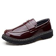 baratos Sapatos de Tamanho Pequeno-Homens Mocassim Couro Envernizado Primavera & Outono Mocassins e Slip-Ons Preto / Vinho