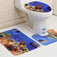 cheap Mats & Rugs-3 Pieces Modern Bath Mats 100g / m2 Polyester Knit Stretch Geometric Irregular Bathroom Cool