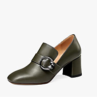 cheap -Women's Comfort Shoes Nappa Leather Fall Heels Chunky Heel Black / Army Green