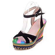 baratos Sapatos Femininos-Mulheres Sapatos Confortáveis Camurça Primavera Sandálias Salto Plataforma Preto / Vermelho