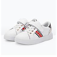 baratos Sapatos de Menina-Para Meninas Sapatos Microfibra Primavera & Outono Conforto Tênis Tachas / Velcro para Infantil Dourado / Branco